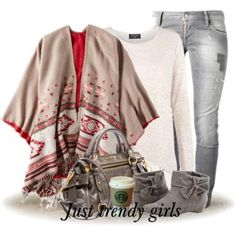 tribal poncho outfit, Winter outfits in latest trends http://www.justtrendygirls.com/winter-outfits-in-latest-trends/