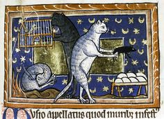 Cats doing cat things: sleep, play with mice, and take an unhealthy interest in caged birds from a medieval bestiary - Bizarre and vulgar illustrations from illuminated medieval manuscripts Cat Painting, Medieval Art, Cat Art, Illustrated Manuscript, Painting, Middle Ages, Medieval Manuscript, Medieval Paintings, Art History