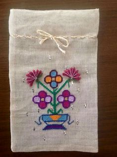 Neşe'nin gözdeleri Cross Stitch Needles, Cross Stitch Embroidery, Hand Embroidery, Turkish Fashion, Turkish Style, Unusual Presents, Lavender Bags, Couture, Gift Bags
