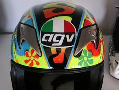 Repair on a customer's helmet (before and after images) ~ Hand Painted Helmets - Design your helmet today.