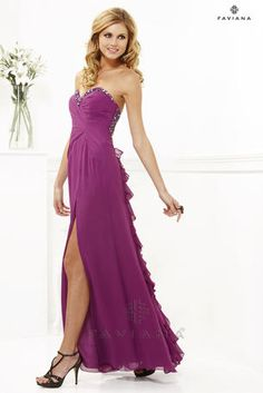 Faviana - 7124 strapless beaded ruffle dress