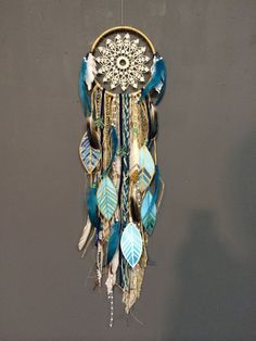 Indigo Mood DreamCatcher with turquoise jewels by CosmicAmerican Rachael Rice(Diy Crafts Painting) Dreamcatchers, Boho Dreamcatcher, Diy And Crafts, Arts And Crafts, Deco Boheme, Feather Painting, Sun Catcher, Wind Chimes, Indigo