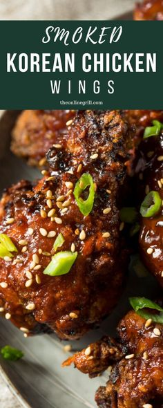 Smoked BBQ Korean Chicken Wings The beautiful smoked Korean BBQ chicken wings triking the perfect balance between spicy, sweet, smokey and crunchy, these wings will fast become your new favorite. Best Chicken Wing Recipe, Best Chicken Recipes, Steak Recipes, Cod Recipes, Kale Recipes, Smoker Recipes, Avocado Recipes, Salmon Recipes, Turkey Recipes