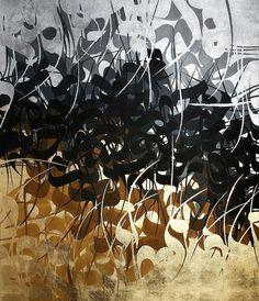 Arabic Calligraphy Art, Arabic Art, Gold Leaf Art, Mini Canvas Art, Iranian Art, Contemporary Artwork, Art Journal Inspiration, Texture Painting, Typography