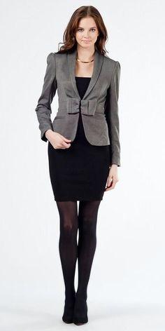 Black Pencil Skirt Gray Blazer Black Pantyhose and Black High Heels
