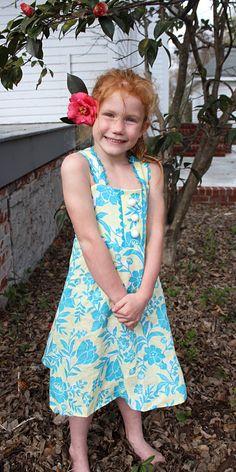 """Summer Fun"" Bonnie Blue Designs ""Ashley"", Floral Linen with coordinating Rick Rack (2.11.15)"