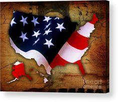 American Flag Art Acrylic Prints by Marvin Blaine.