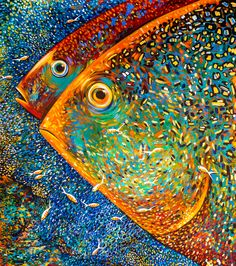 Lleno De Colores Full Of Colors Large Acrylic Painting 173 X Depicting 2 Fish Faces With Human Like Eyes Vivid Bright Bold Colors Fisch Mosaik Orange Paintings Originals For Sale Lleno De Colores Full Of