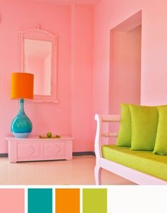 I like all the colors- but her walls would not be all pink just halfway with orange, blue and green as accent colors.