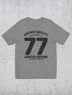 40th Birthday Gift For Man - Vintage Quality 77 T-Shirt - Graphic Tees - 40th Birthday Gift Ideas - Men's Clothing - Gifts For Him - 1977 Tshirts
