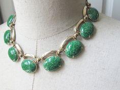 Mid Century Vintage Green Enamel Cab Necklace by FiorellaVintage
