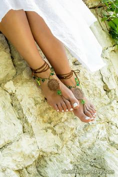 Gypsy beach wedding barefoot sandals Boho anklet Foot jewelry barefoot sandal Bottomless sandals Footless sandles Hippie soleless sandal