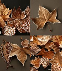 DIY : painted leaves - leaf - nature - autumn - fall - decor by toniCelebrate this fall with an undying vigor. Set the festive mood with these cost-effective, elegant, creative fall decoration DIY ideas.DIY Painted leaves: a little white paint and so Leaf Crafts, Diy And Crafts, Crafts For Kids, Arts And Crafts, Kids Diy, Decor Crafts, Art Decor, Autumn Crafts, Nature Crafts