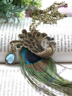 retro copper blue crystals peacock with long feather necklace pendant vintage style