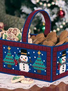 Plastic Canvas - Christmas Patterns - I Love Winter Basket