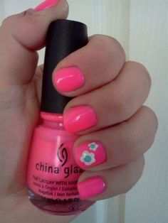 Neon Pink & Flowers - Nail Art Gallery by NAILS Magazine