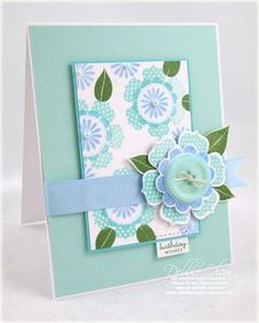 beautiful handmade card ... luv this color combination of Paper Trey Ink's  Aqua Mist, Spring Rain and New Leaf on this card ... flowers and dies from PTI: Beautiful Blooms ...