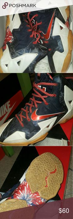 LeBron 11s Independence Day Edition w OG box Worn a few times but way to small for me. Havent worn them in over a year just was saving them. Still in great condition. Will negotiate just make an offer. COMES W ORIGINAL BOX! Nike Shoes Sneakers