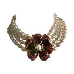 Chanel Gripoix Camelia Four Strand Pearl Necklace