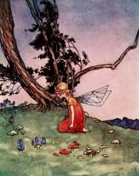 The little Princess hides in the Toadstool Ring - The Magic Kiss by Christine Chaundler, 1916
