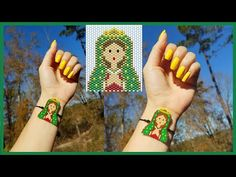 VIRGEN DE GUADALUPE/ PULSERA/PEYOTE INPAR /MIYUKI - YouTube Pony Bead Patterns, Peyote Patterns, Beading Patterns, Bracelet Crafts, Jewelry Crafts, Pixel Beads, Beaded Jewelry, Beaded Bracelets, Pony Beads