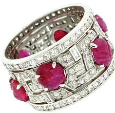 1920's Art Deco Platinum Band with carved cabochon rubies and diamonds