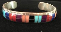 Zuni Sterling Channel Inlay Bracelet, Ted Tsadiase by TheThunderBirdRanch on Etsy