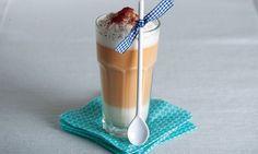 Gewürz-Latte-macchiato - Rezepte - Schweizer Milch Expresso, Beverages, Drinks, Frappe, Glass Of Milk, Barware, Pudding, Desserts, Cinnamon