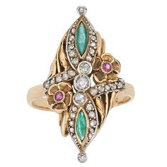 Art Nouveau Emerald Ruby Diamond Gold Platinum Flower Motif Ring | 1stdibs.com