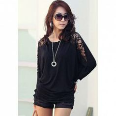 $6.09 Loose-Fitting Style Splicing Lace Batwing Sleeve T-Shirt For Women