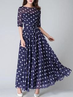 Black and White Polka Dot Maxi Dress, Vintage style Long Swing Chiffon Dress with sleeve, Summer Bohemian Pleated fit and flare dress 1534 Polka Dot Maxi Dresses, White Polka Dot Dress, Polka Dots, Robes Vintage, Vintage Dresses, Vintage Prom, Beauty Fotos, Jupe Swing, Party Dresses For Women