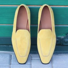 Handcrafted Custom Made Loafers in Mustard Yellow Kid Suede From Robert August. Create your own custom designed shoes. Mens Loafers Shoes, Loafers Outfit, Suede Loafers, Loafer Shoes, Shoes Men, Suede Shoes, Men's Shoes, Custom Made Shoes, Custom Design Shoes