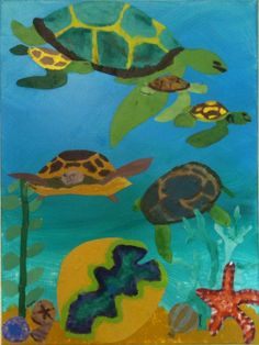 Art projects i did with my school children this was 5th and 6th grade, drew the turtles and shells on muslin material got the children to paint them, then cut them out and layered on a canvas with the background already painted.  Glued down with a matt finish decopache glue