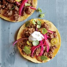 Beef Tostadas with Quick-Pickled Onions | MyRecipes.com #myplate #protein