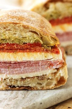 Pressed Italian Picnic Sandwich | The Suburban Soapbox #tailgating could also try with olive mix or Italian dressing