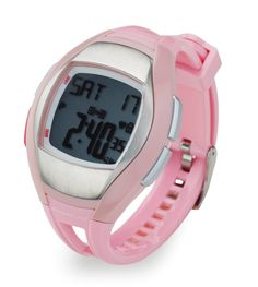 Sportline Women's Solo 925 Heart Rate Monitor and Pedometer - Silver with Pink Strap. When it comes to fitness and weight-loss solutions, the Solo 925 Heart rate watch, with our patented 3BEAT Sensor* couldn't be easier to use. There's no faster way to monitor your heart rate with ECG accuracy and with the integrated step counter and calorie-burn monitor, you'll be on the fast track to reaching your short and long-term fitness goals. Other features include dual time display (12/24hr…
