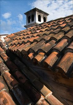 a red tile in Antigua Guatemala