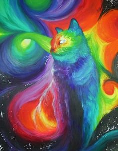 Cosmic Kitty by x-surrealist-x on DeviantArt Acid Trip, Psy Art, Neon, Visionary Art, Psychedelic Art, Cool Cats, Big Cats, Art Photography, Abstract