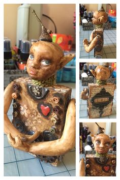 Sculpey clay, wood and mixed media. Art by Artsy Soul.