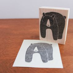 Large Rubber Stamp - February Bear Wood Mounted Stamp ( Etsy:: http://www.etsy.com/listing/104535087/large-rubber-stamp-february-bear-wood# )