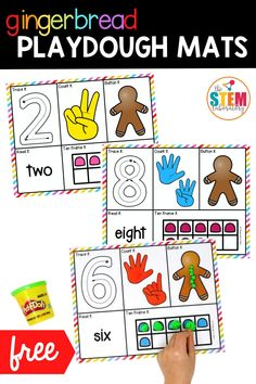 If you're looking for a fun holiday Christmas themed math activity, we love these festive playdough mats! Students will have fun practicing their math and numbers skills with these cute gingerbread play dough mats!