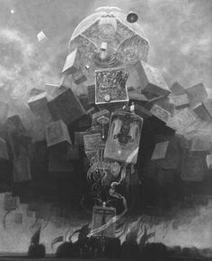zdzislaw beksinski black & white image of a painting
