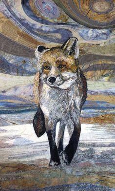 """Textile Art 168251736066881922 - My Owl Barn: Embroidered Textile """"Paintings"""" by Rachel Wright Source by bigskyellen Dog Quilts, Animal Quilts, Thread Art, Thread Painting, Wildlife Quilts, Wildlife Art, Landscape Art Quilts, Abstract Landscape, Fox Art"""