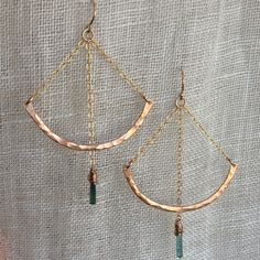 Pendulum Earrings in Bronze gold and Green by ModernBronze on Etsy