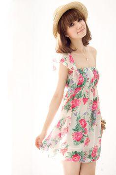Sweet Flower Printing Lotus Leaf Strapless Dress Pink