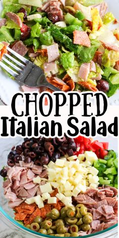This Italian salad recipe is so quick and easy to make. It's made with delicious cured meats, olives and cheese and it is loaded with flavor! It makes an excellent meal for lunch or a tasty salad with dinner.