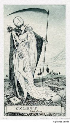 Ex Libris by Alphonse Inoue.  Death grim reaper Father Time scythe maiden girl woman dance danse macabre skull skeleton
