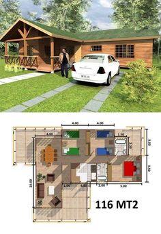 L shape house Little House Plans, Dream House Plans, Modern House Plans, Small House Plans, House Floor Plans, My Dream Home, Village House Design, Village Houses, Tiny House Cabin