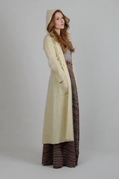 vintage 70s HOODED wool mohair Maxi Cardigan sweater jacket long xs s boho knit. $115.00, via Etsy.