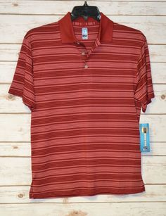 MEN`S PGA TOUR SHORT SLEEVE RED STRIPE POLO GOLF SHIRT SMALL UPF15 COOL DRY #PGATOUR #PoloRugby